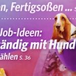 """Fröhlich gestimmt sausen die beiden Basset-Damen auf ihrem Coaching-Sessel über das Titelbild der """"Bild der Frau"""", Heft 1-2013"""