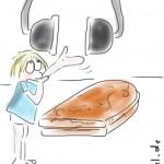 Zeichnen auf Stichwort-Zuruf: Butterbrot, Kopfhörer, Männchen