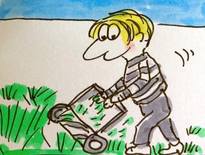 Sabine-Dinkel-Comic-Rasenmäher